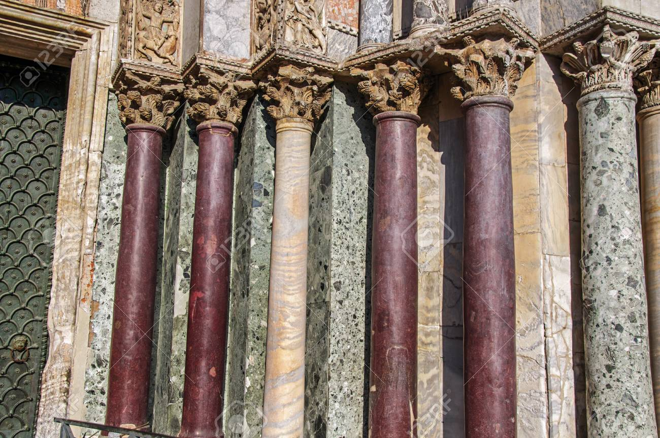 close up of columns and capitals made of various types of marble on the san