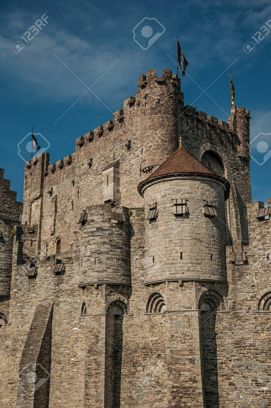 Close Up The Stone Wall And Watch Tower Of Gravensteen Castle In Ghent