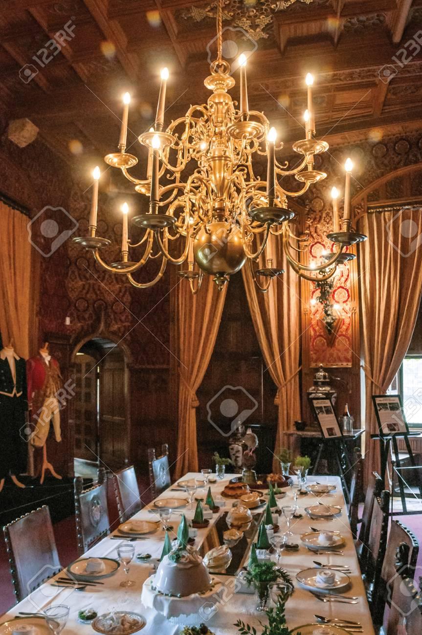 Luxurious furniture in De Haar Castle dining room, near Utrecht...