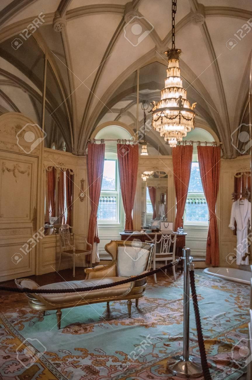 Furniture In Luxurious De Haar Castle Bathroom Near Utrecht Of Medieval Origin It