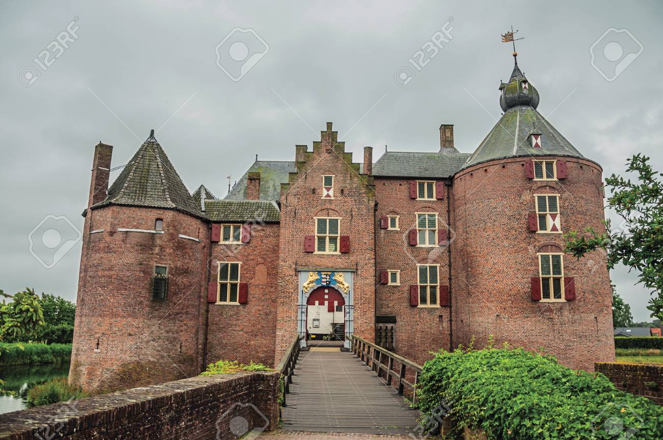 Medieval Ammersoyen Castle With Its Brick Towers, Wooden Bridge ...