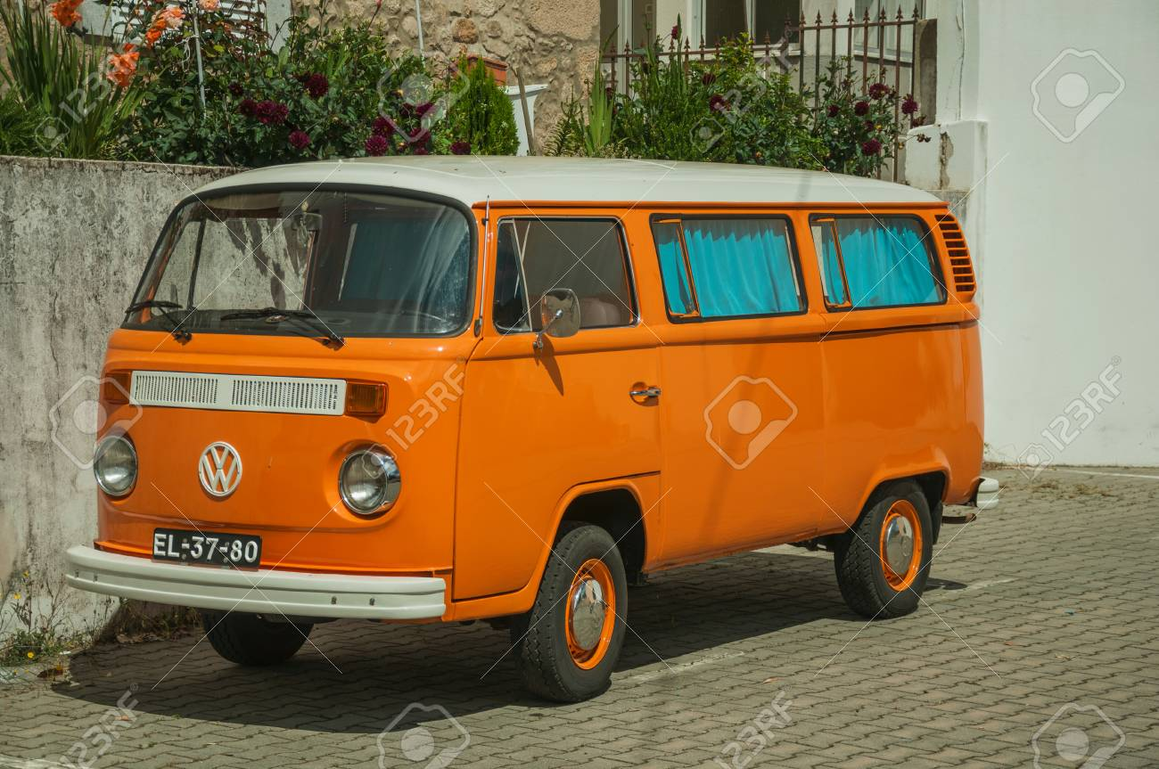 Unhais Da Serra Portugal July 15 2018 Old Orange Volkswagen