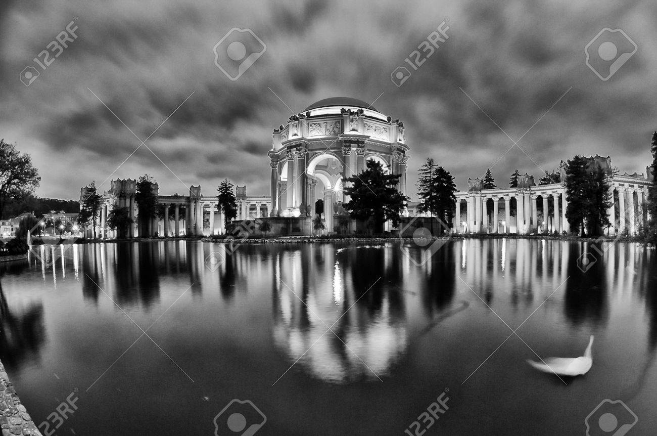 Reflection Of A Museum On Water Palace Of Fine Arts Marina - Black museums in usa