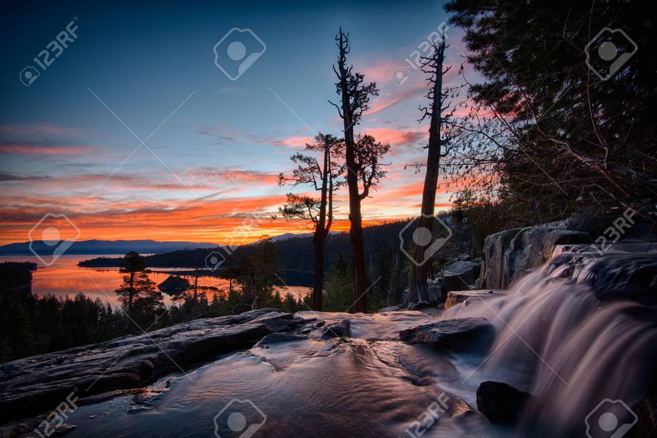 Water falling into a lake, Lake Tahoe, Sierra Nevada, California, USA Stock Photo - 22229060