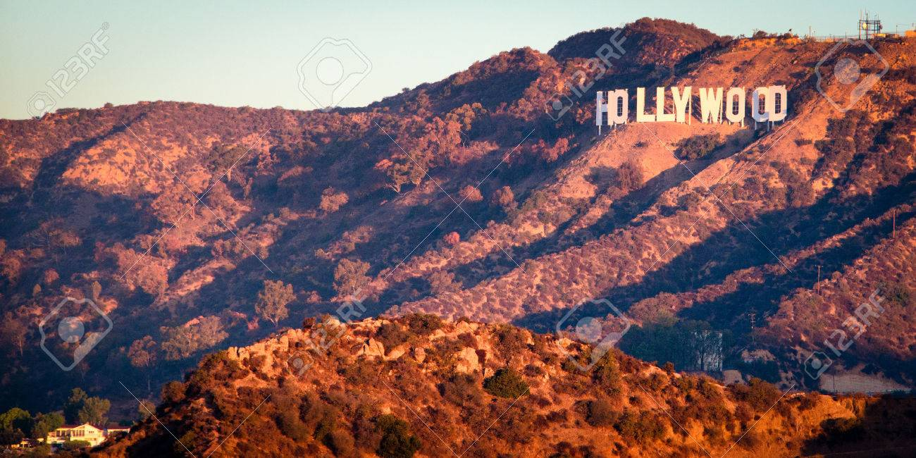 Hollywood Sign From Griffith Observatory At Sunrise Los Angeles California USA