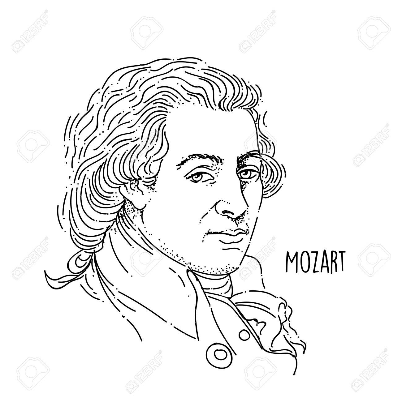 Wolfgang Amadeus Mozart Line Art Portrait - 104698656