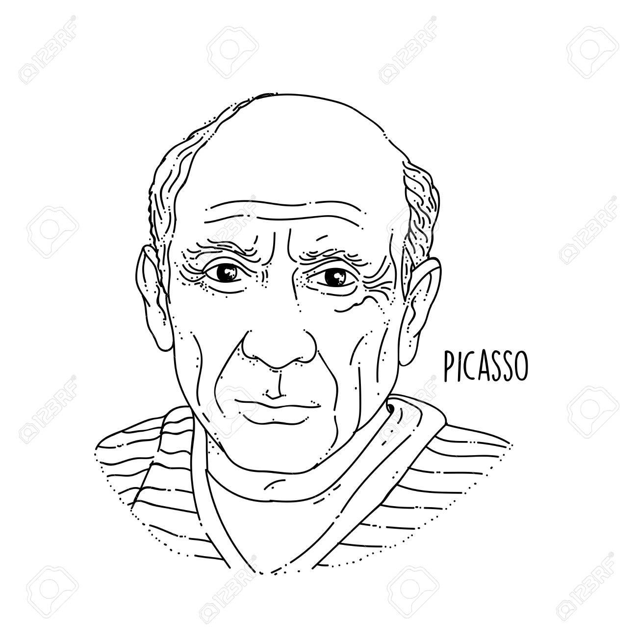 Pablo Picasso Line Art Portrait - 104697500