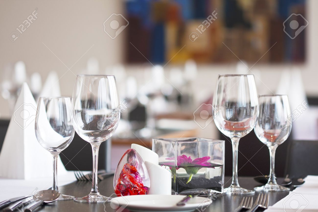 Formal Dining Table Set Up With Flower In Luxury Restaurant Stock ...