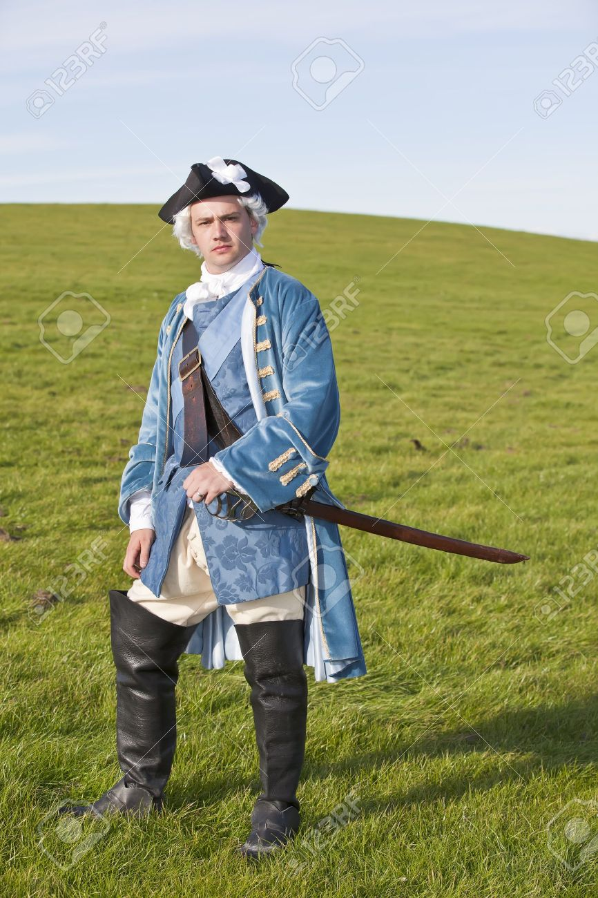 Reenactor in 18th century British army infantry officer uniform Stock Photo - 15472980