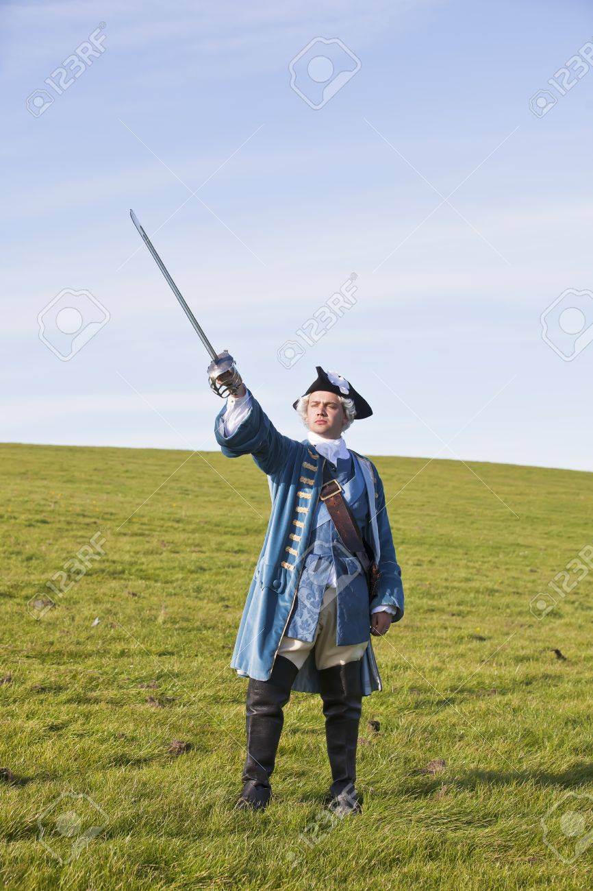 Reenactor in 18th century British army infantry officer uniform Stock Photo - 15472983