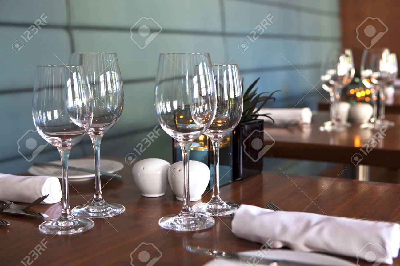 Formal dining table set up in stylish luxury restaurant. Selective focus. Shallow depth of & Formal Dining Table Set Up In Stylish Luxury Restaurant. Selective ...