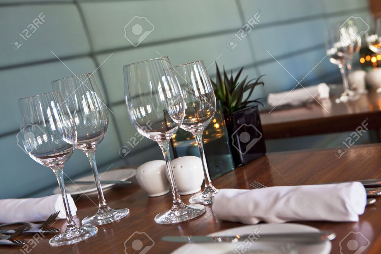 Formal Dining Table Set Up In Stylish Luxury Restaurant. Selective Focus.  Shallow Depth Of