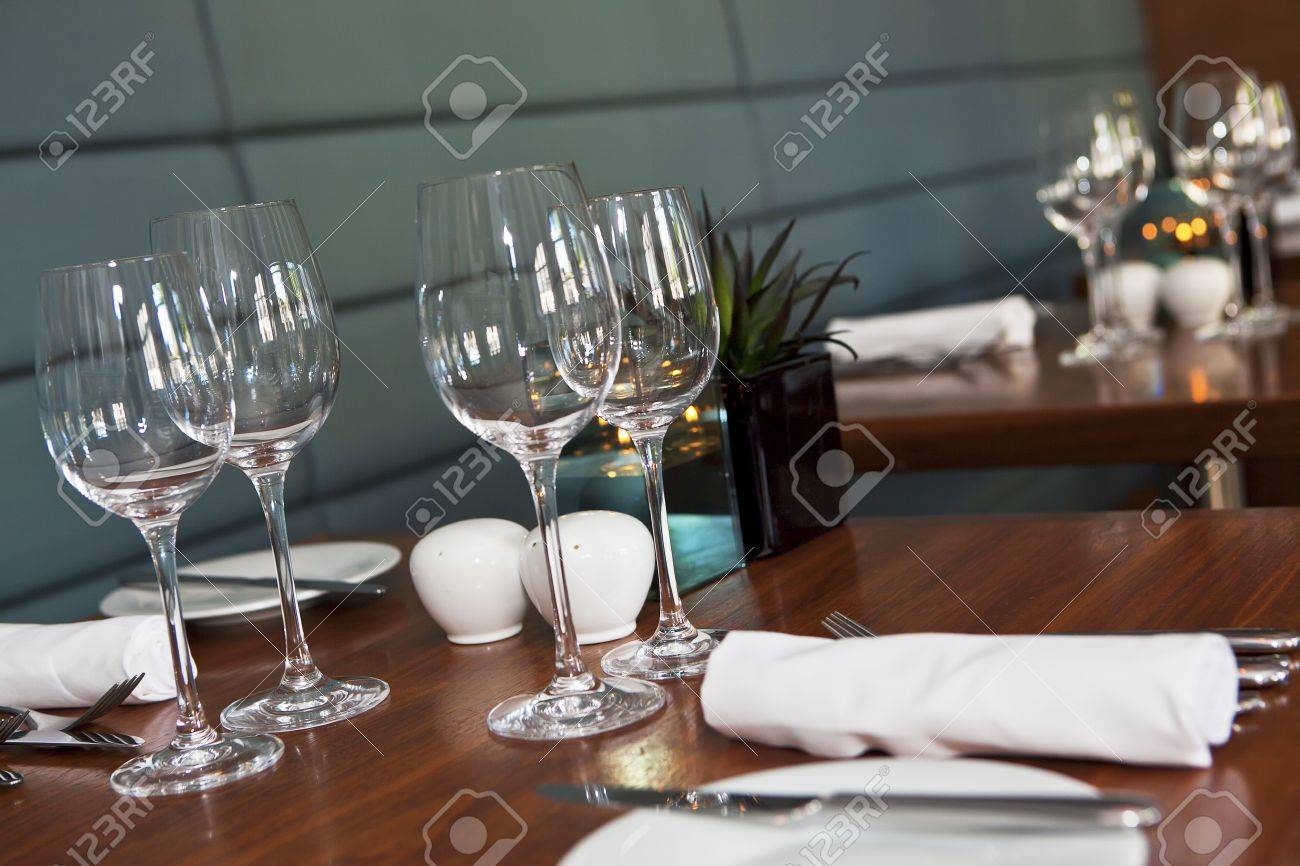 Formal Dining Table Set Up In Stylish Luxury Restaurant. Selective ...