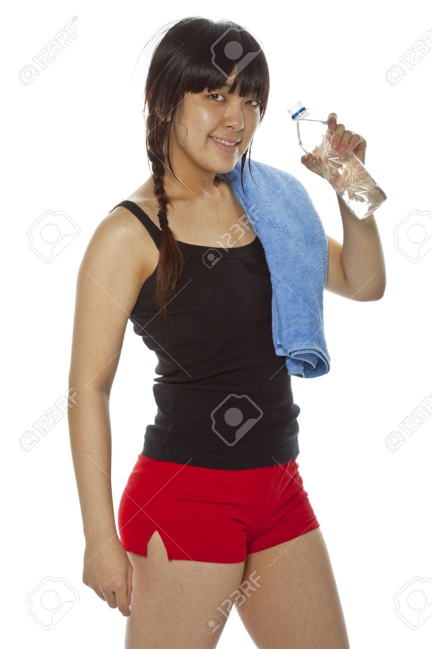 Young Asian woman with a bottle of water isolated on white  Closeup, vertical composition Stock Photo - 15892468