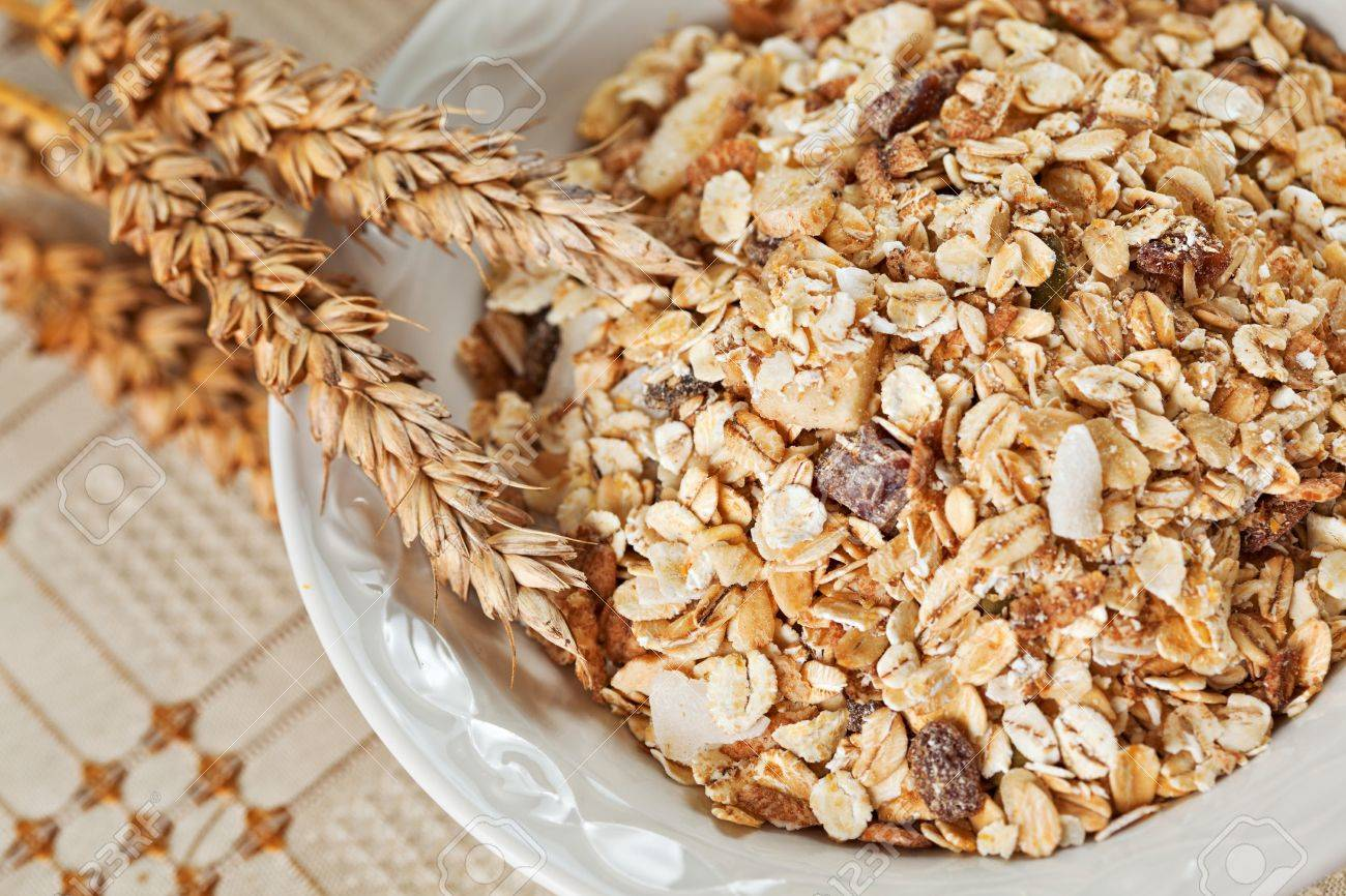 Healthy Eating Breakfast Low Calories Bowl Of Swiss Muesli Above Stock Photo Picture And Royalty Free Image Image 18651283
