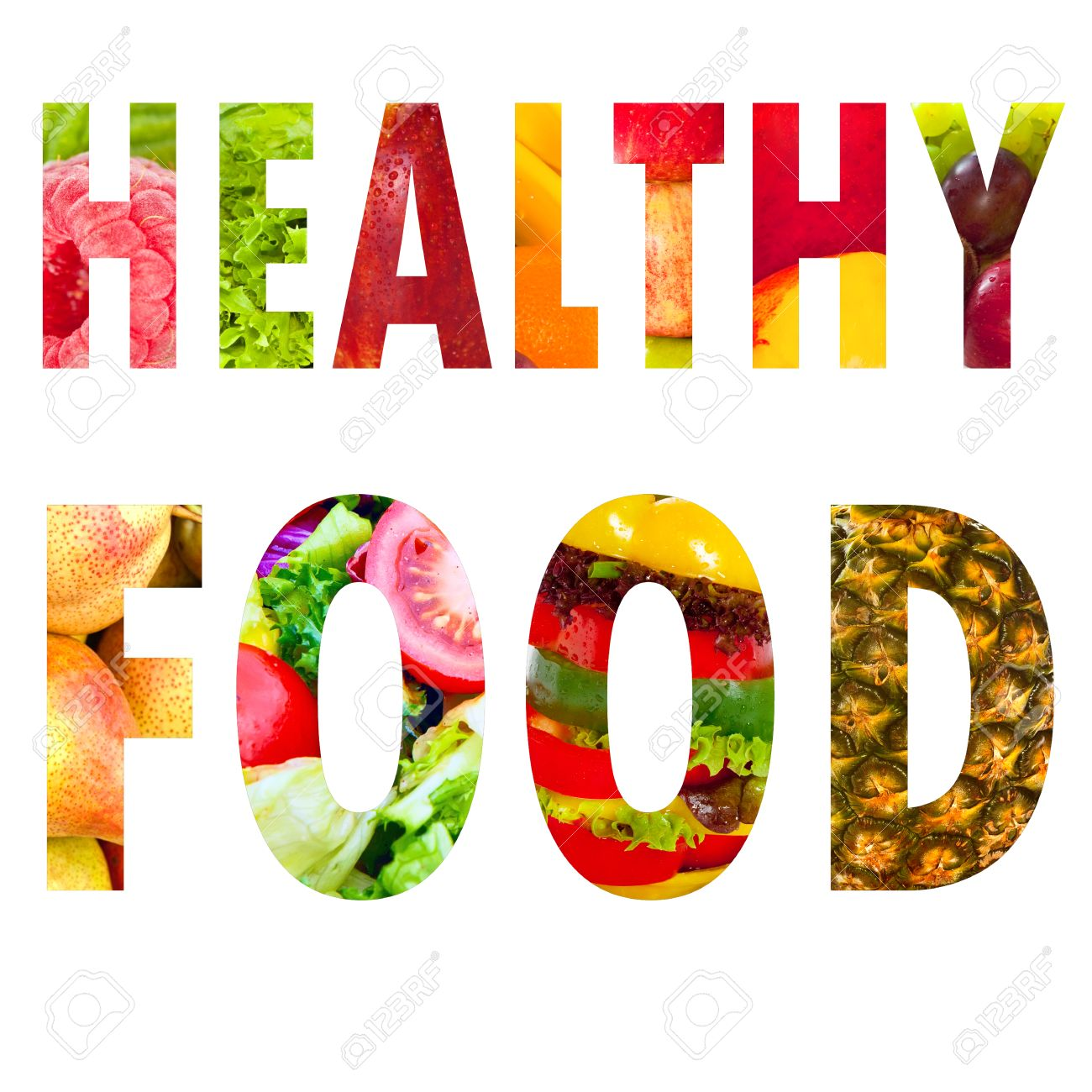 healthy food word text in capital letters on white background healthy food word text in capital letters on white background stock photo 32614821
