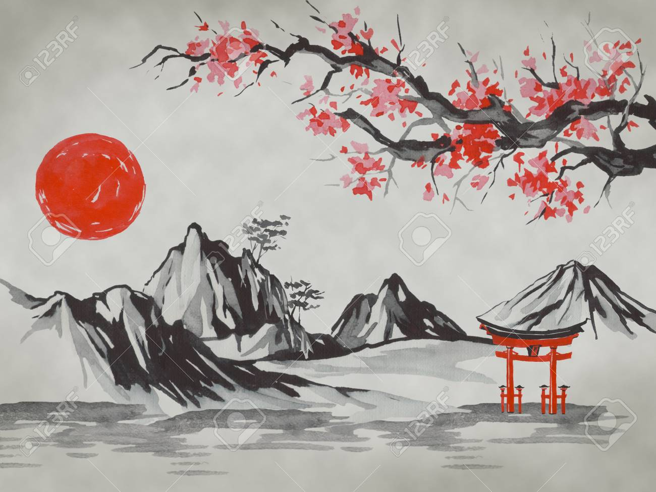 Japan Traditional Sumi E Painting Fuji Mountain Sakura Sunset Stock Photo Picture And Royalty Free Image Image 116756041