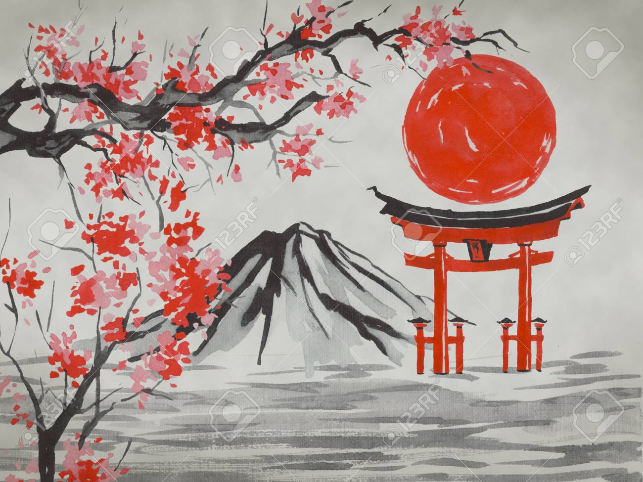 Japan Traditional Sumi E Painting Watercolor And Ink Illustration Stock Photo Picture And Royalty Free Image Image 116756904