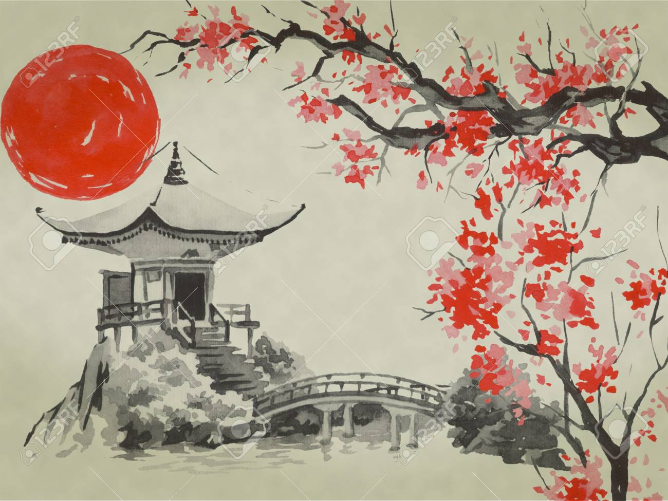 Japan Traditional Sumi E Painting Watercolor And Ink Illustration Stock Photo Picture And Royalty Free Image Image 116756867
