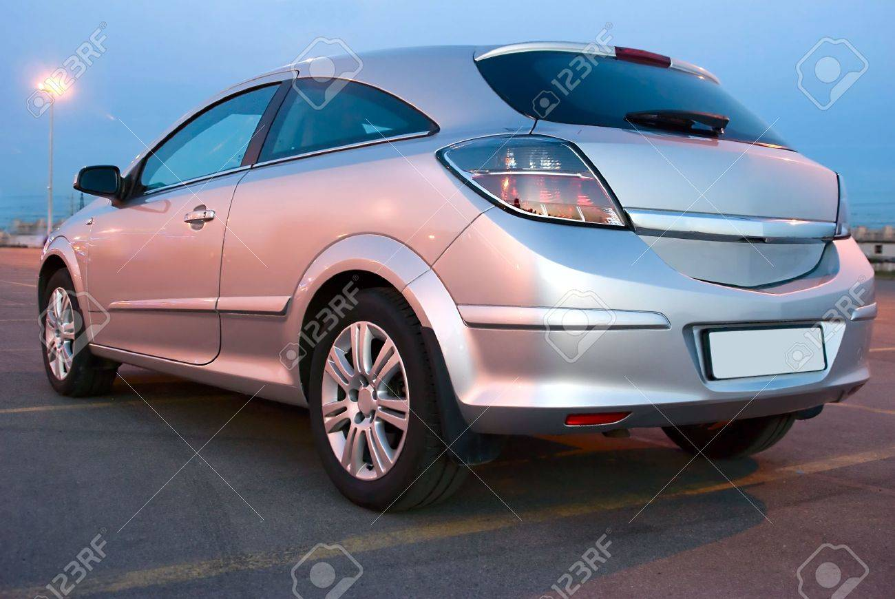silver car in evening Stock Photo - 4835707