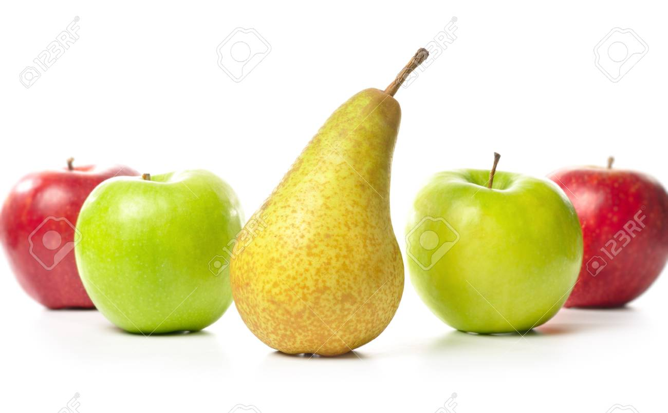apples and pear isolated on white Stock Photo - 7320208