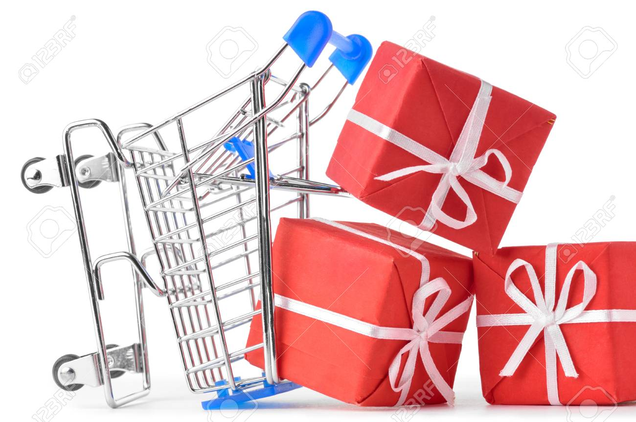 crashed shopping cart with a lot of gifts Stock Photo - 8705313