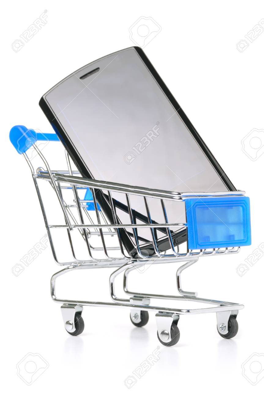 touch screen phone in shopping cart Stock Photo - 8705240