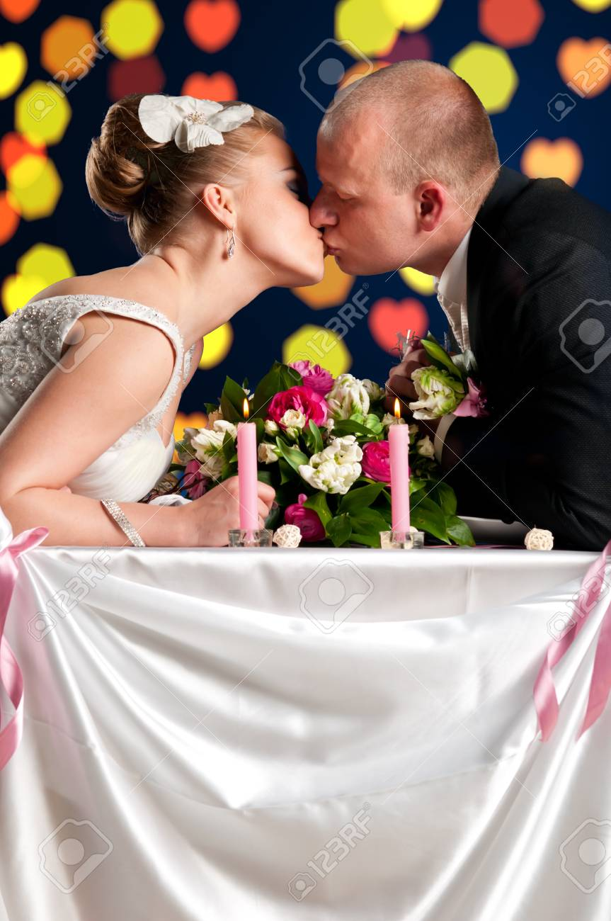 bride and groom are sitting at cafe Stock Photo - 9756399