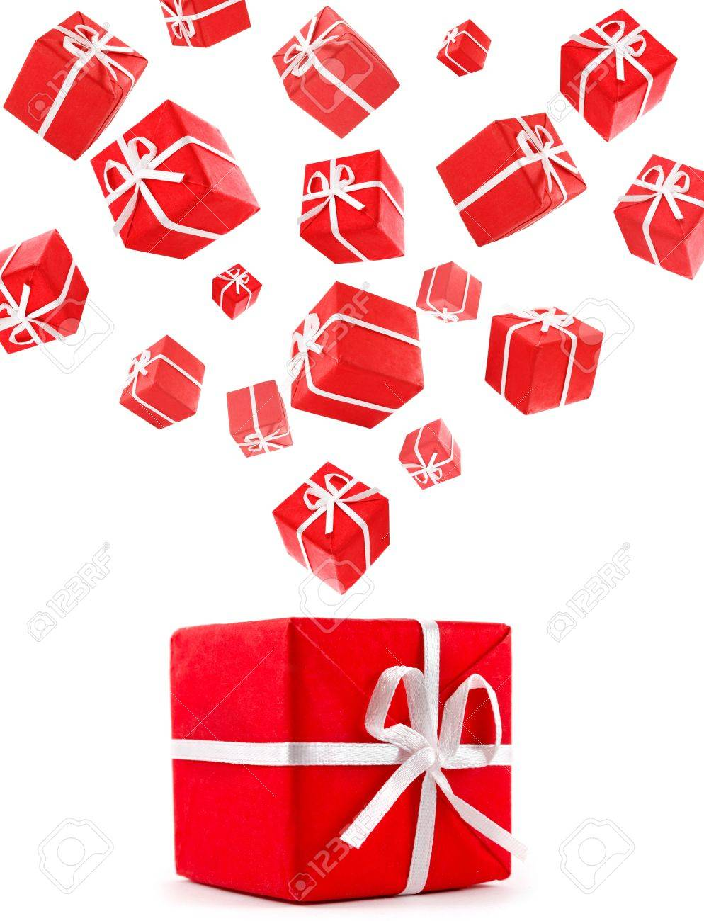 flying red gift boxes Stock Photo - 11425748