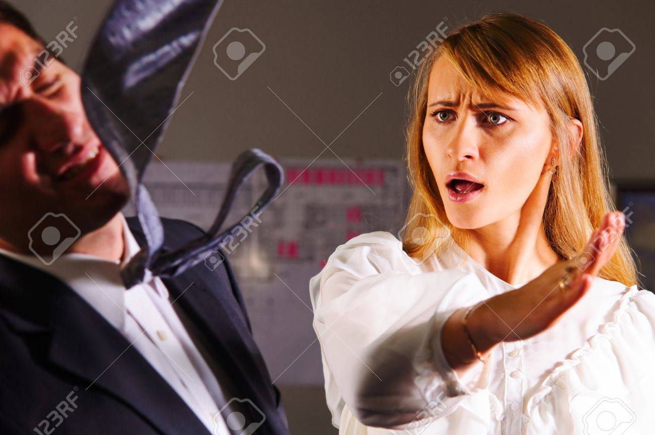 angry businesswoman is slapping across the businessman s face Stock Photo - 18706533