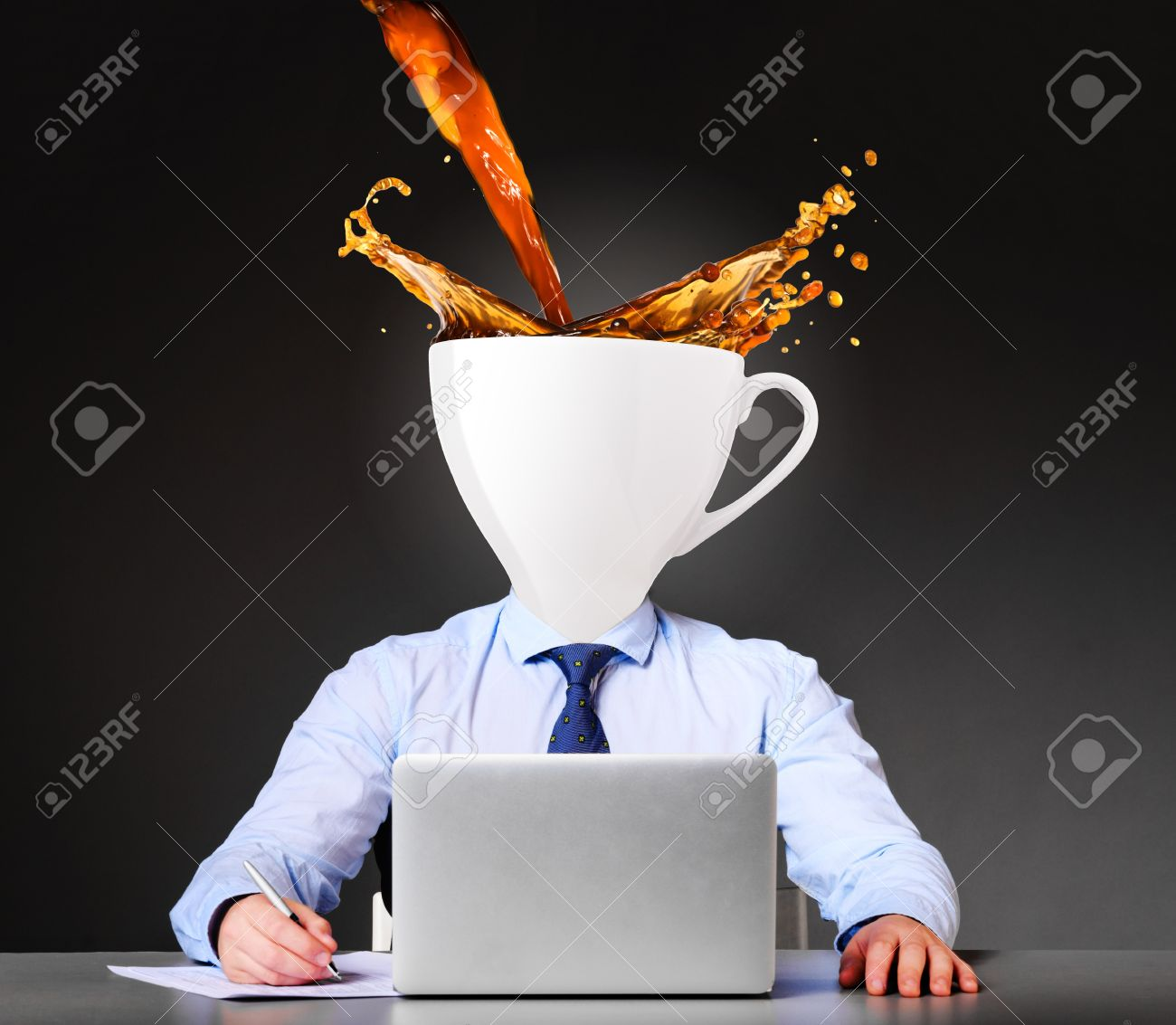 getting energy with coffee  businessman with cup instead of his head Stock Photo - 19984975