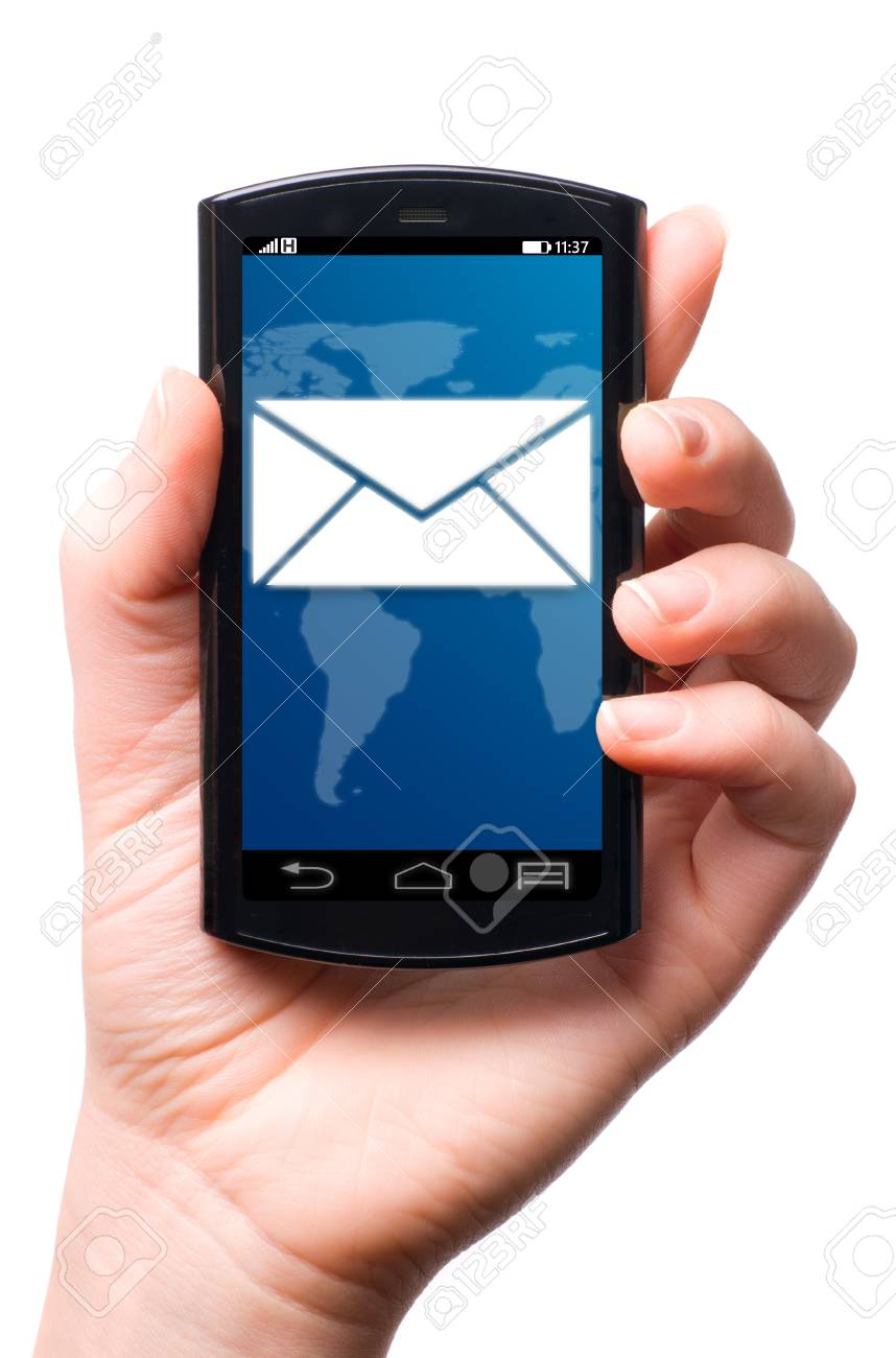 message icon on touch screen phone , cut out from white Stock Photo - 21725966