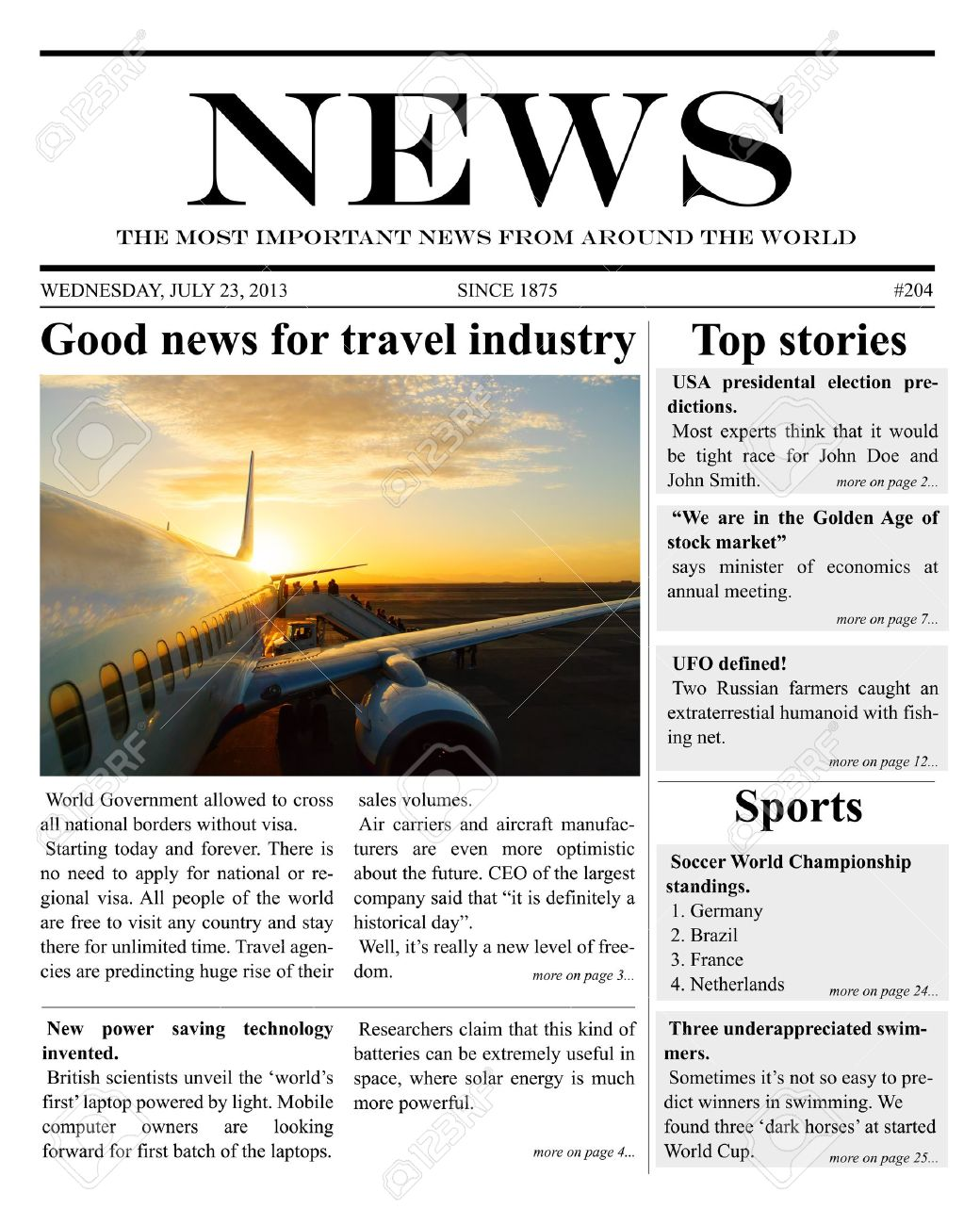 Newspaper Template Images & Stock Pictures. Royalty Free Newspaper ...