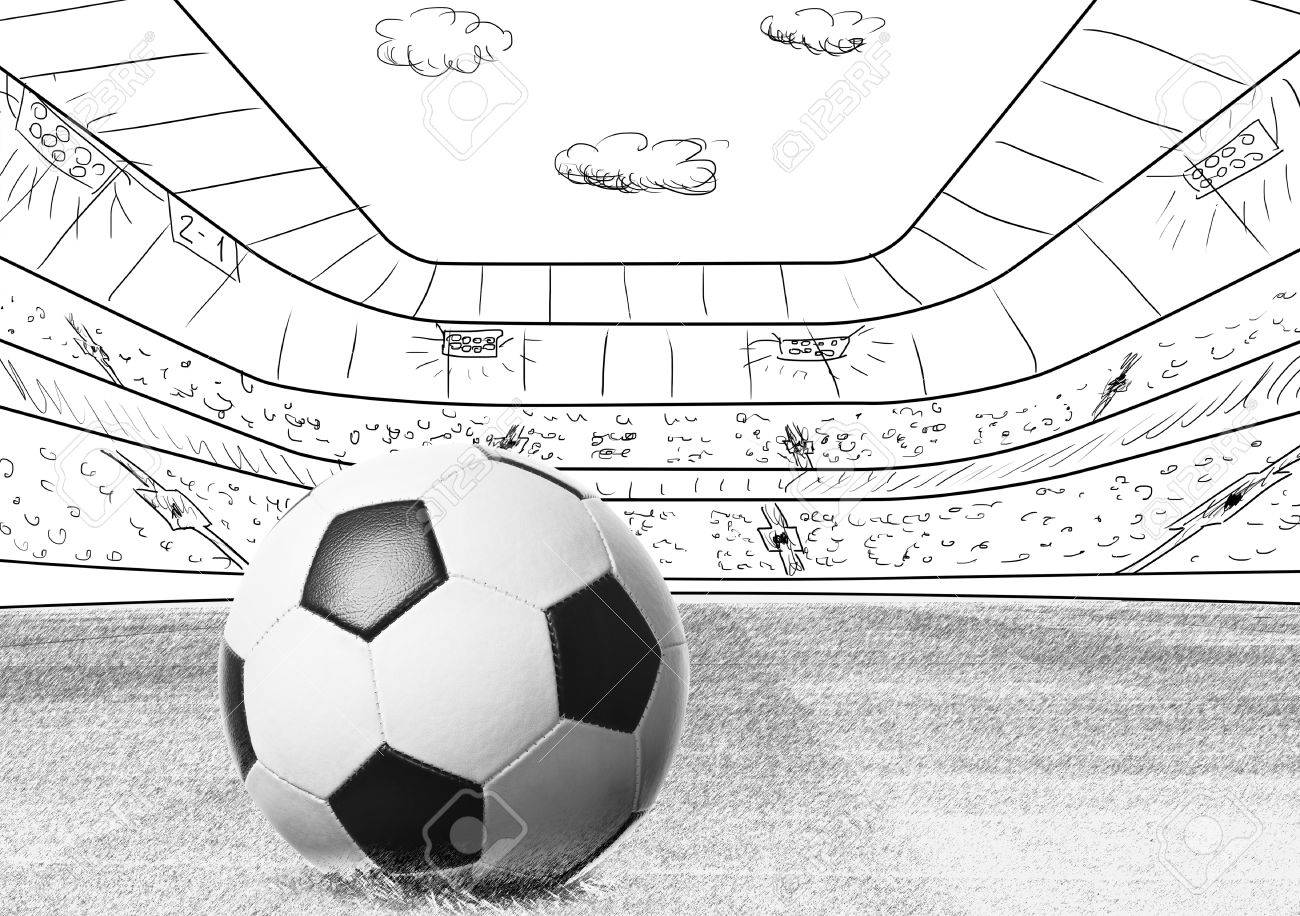 Soccer or football ball on drawn stadium stock photo 40215524