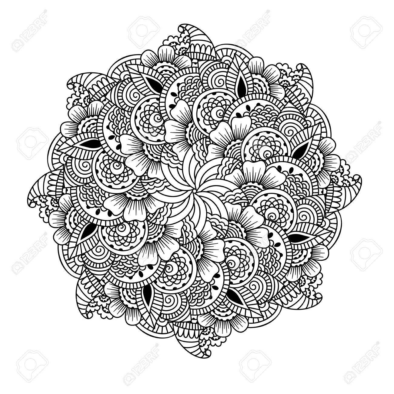 Rundelement Für Malbuch. Schwarz-Weiß-ethnischen Henna-Muster ...