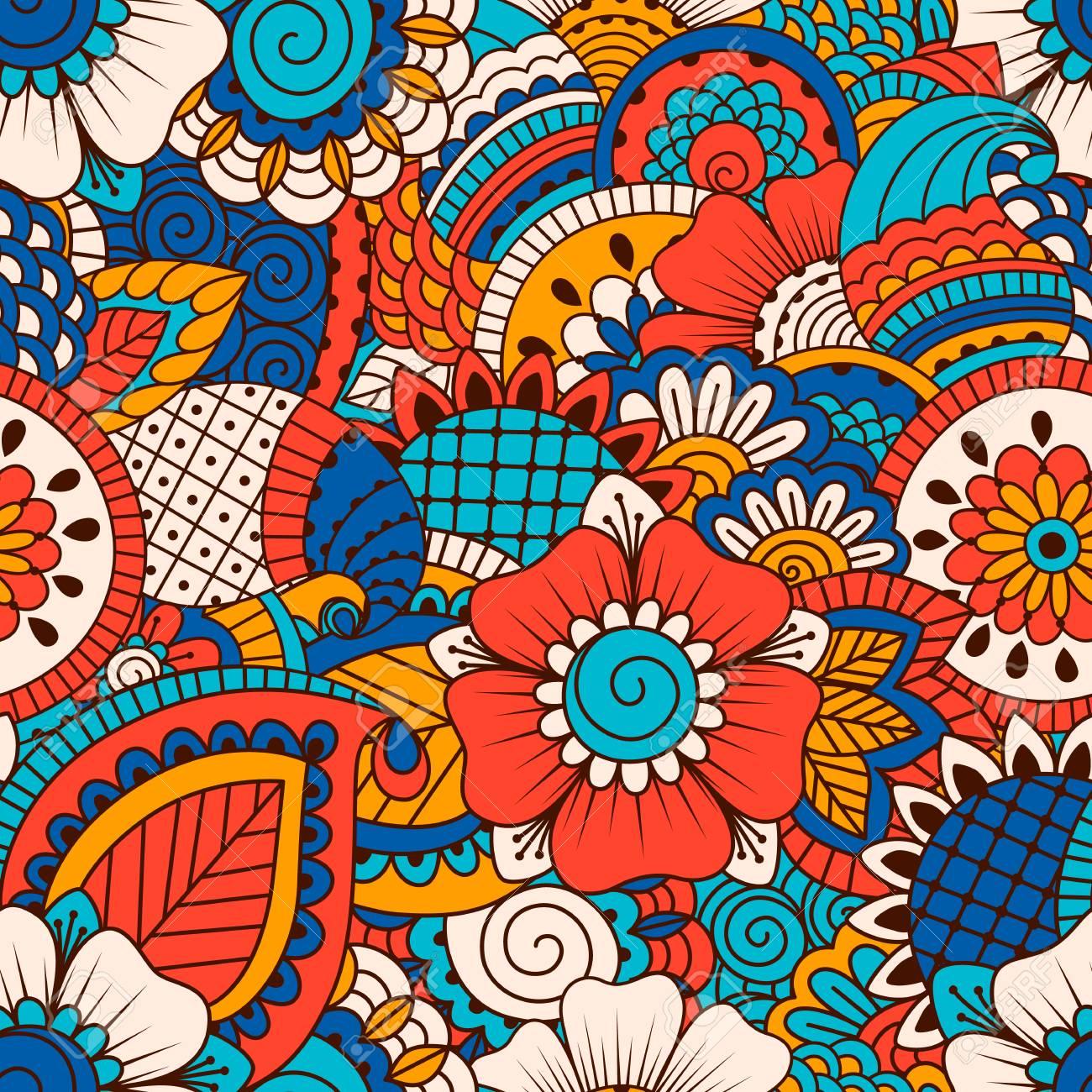Mano Dibujada De Patrones Sin Fisuras Con Elementos Florales ...