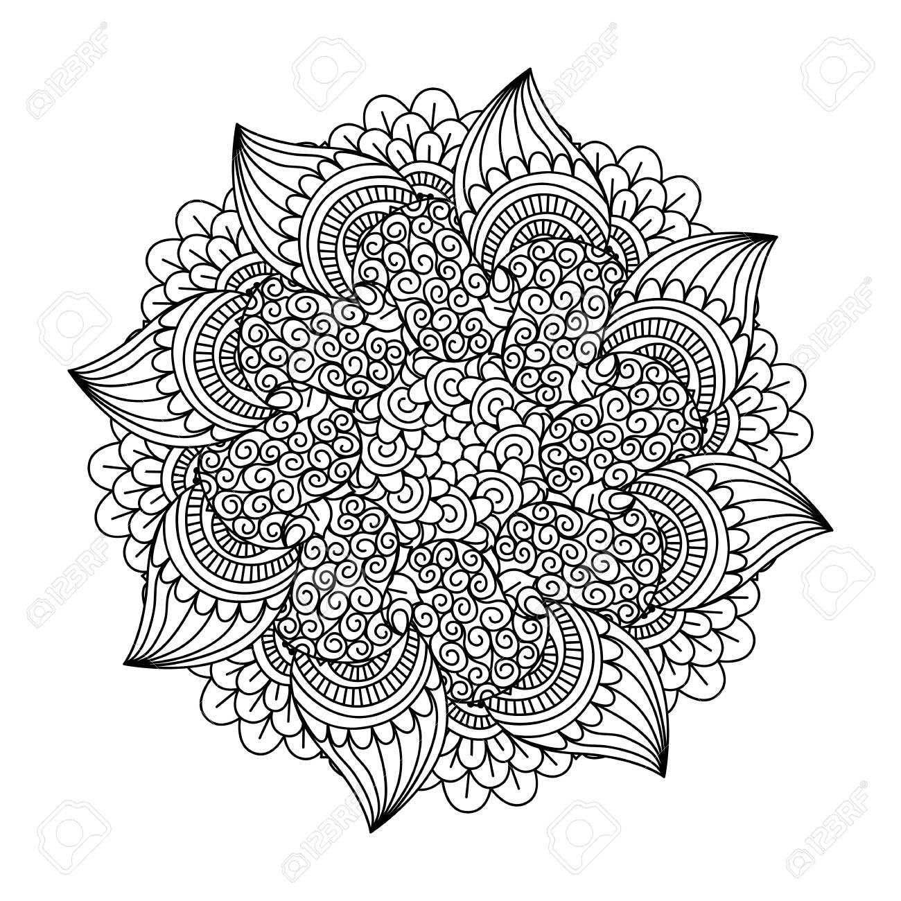 Elemento De La Ronda De Libro Para Colorear. Estampado De Flores ...