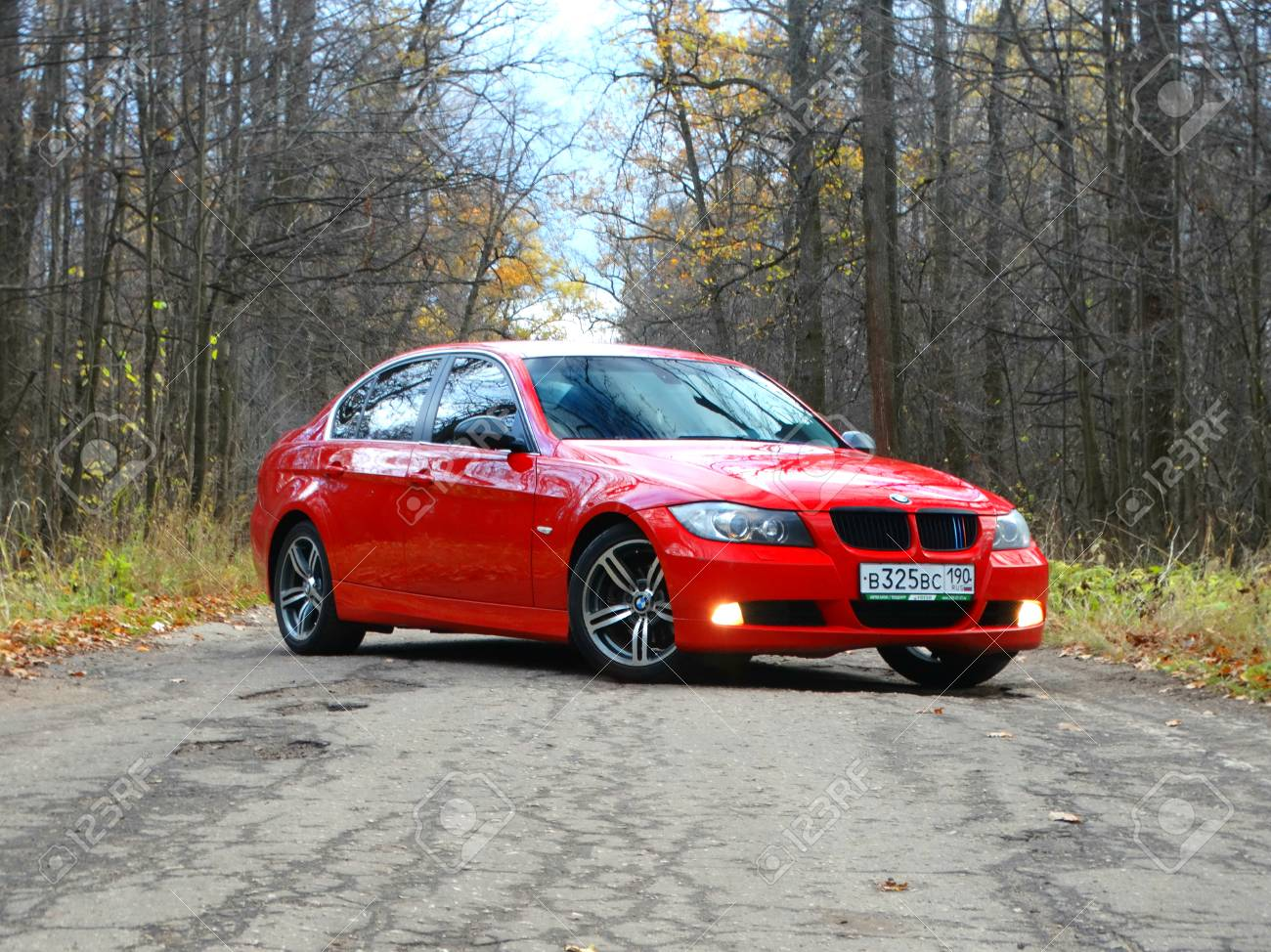 Bmw 3 Series E90 Departure Outside The City Car Auto Red Road