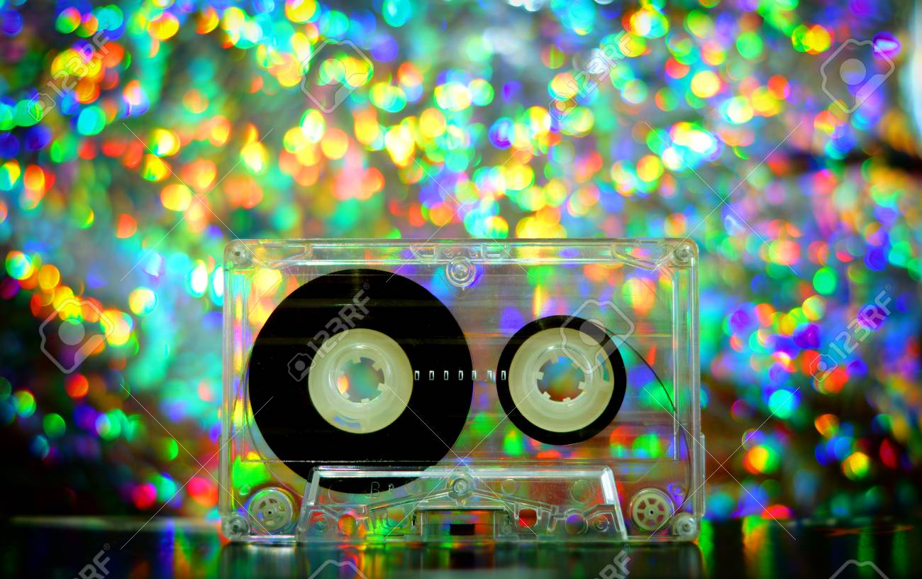Audio Tapes For Tape Recorder 70s 80s 90s Bokeh Vintage Fashion Old Retro Wallpaper Background Texture