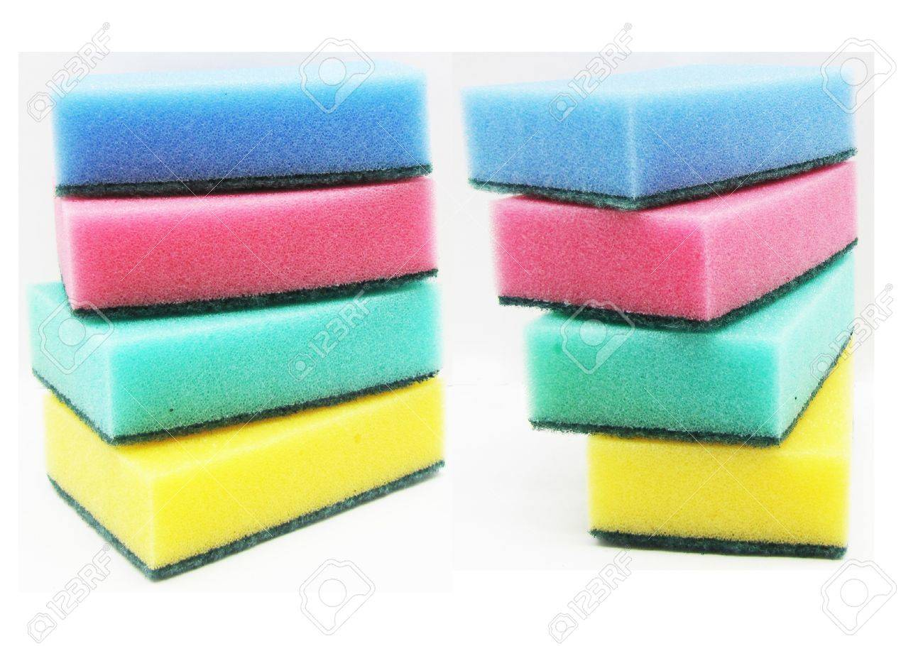 stock photo multi colored foam sponge for washing dishes - Colored Foam