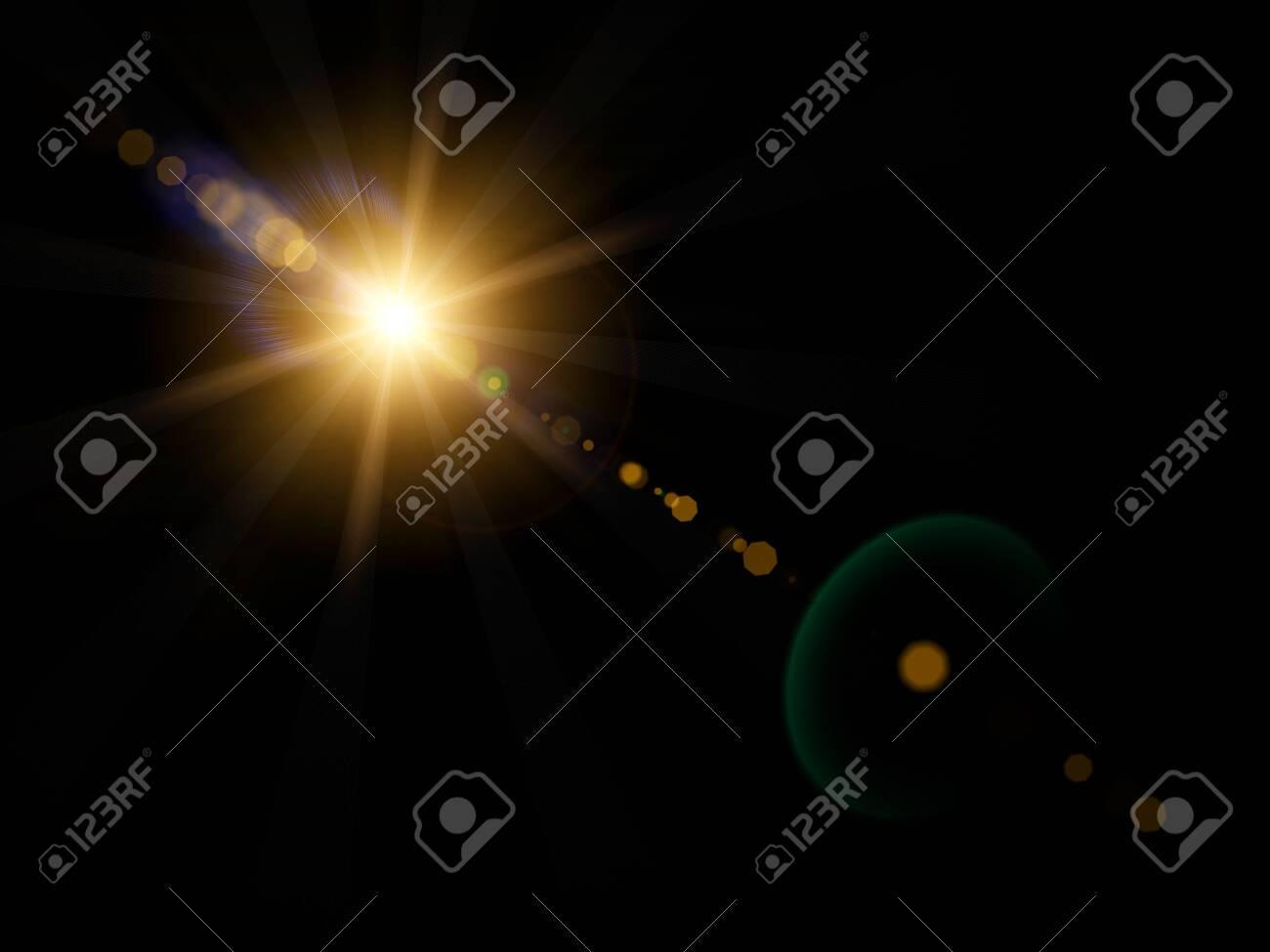 Optical lens flare on black background. - 144933355