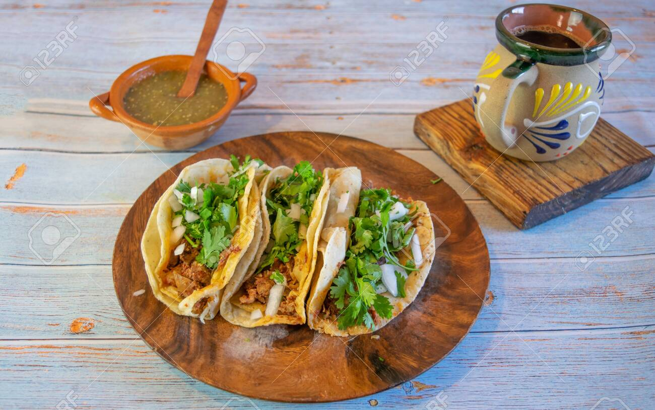 Mexican Tacos With Pancita Green Sauce And Mexican Coffee Stock Photo Picture And Royalty Free Image Image 153225322