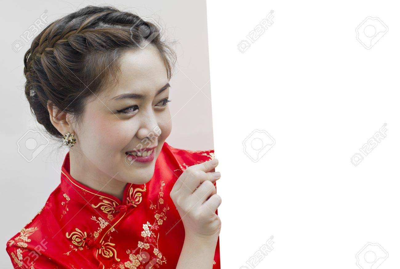Oriental Mädchen Wünschen Ihnen Ein Glückliches Chinesisches Neues ...