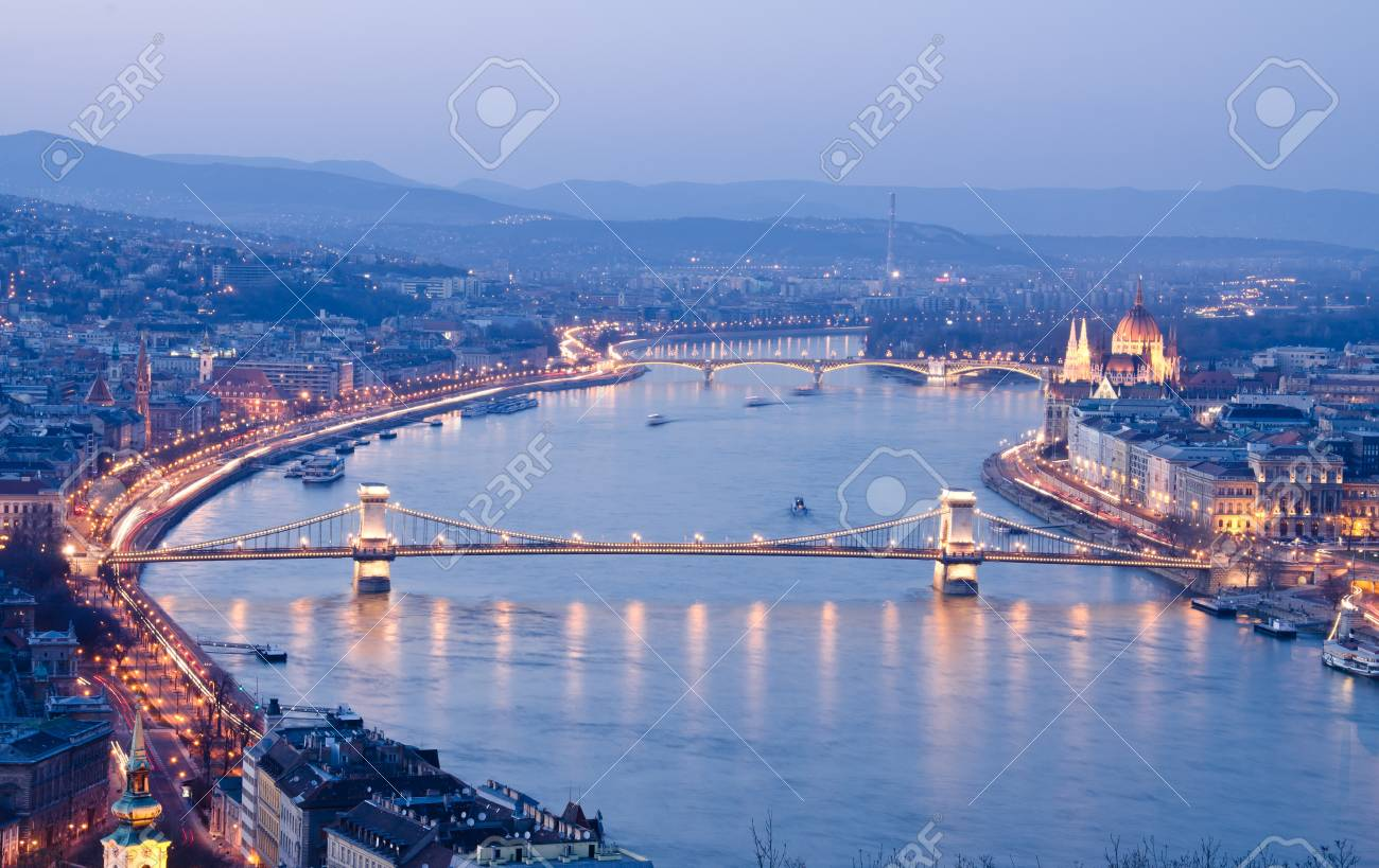 Night of Budapest, Hungary from Gellert hill. Stock Photo - 14747420