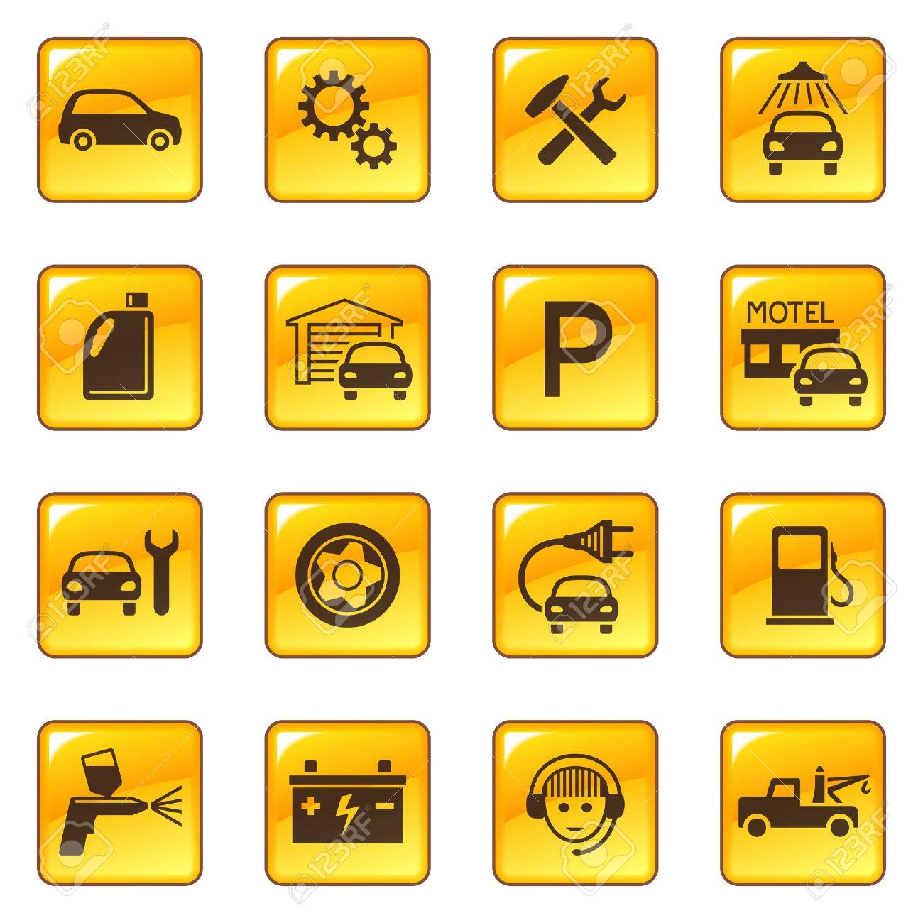 Car service & repair icons Stock Vector - 6234614