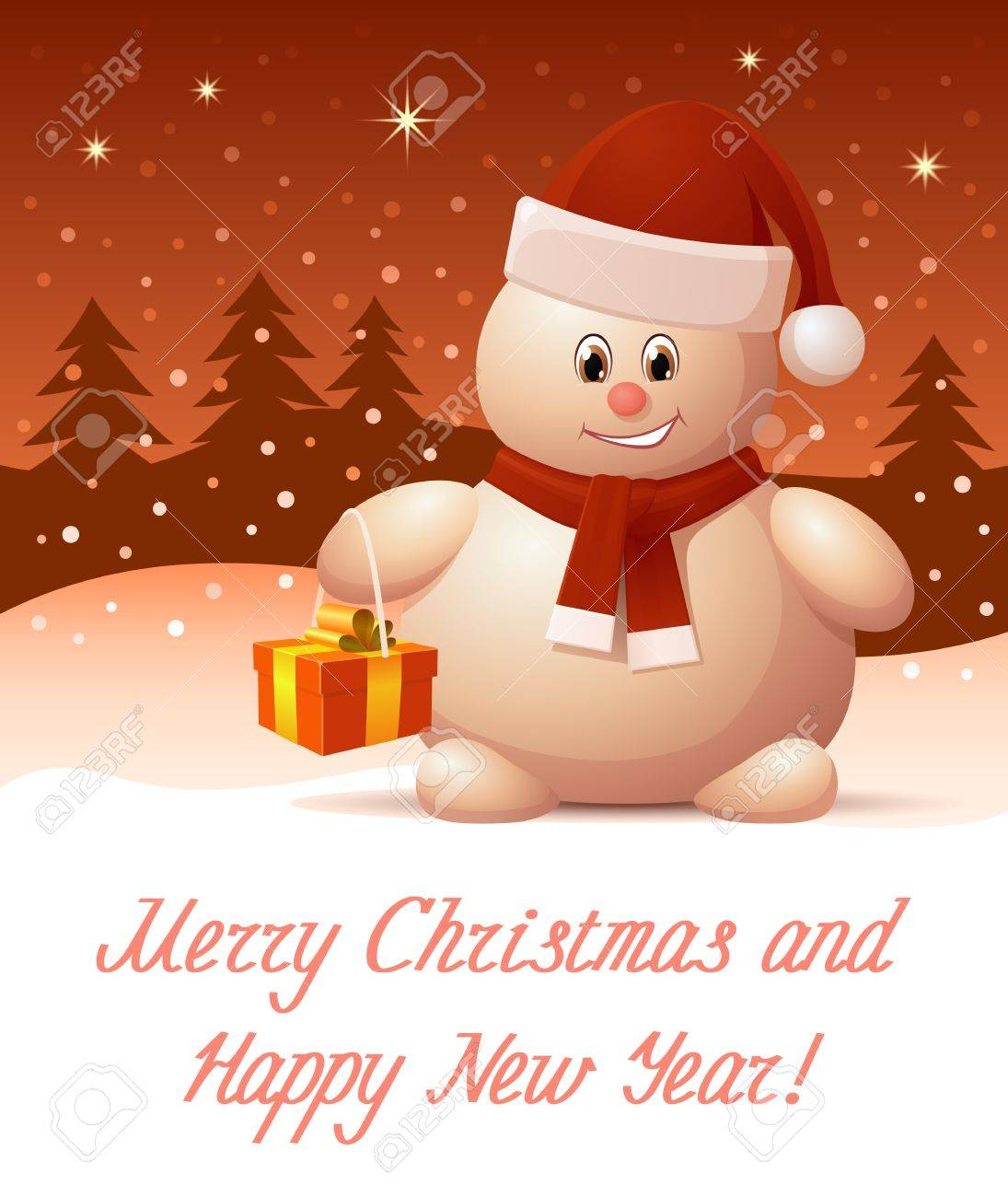 Merry Christmas And Happy New Year Greeting Card Royalty Free ...