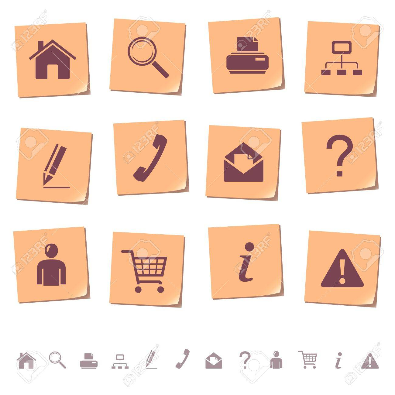 Web icons on memo notes 1 Stock Vector - 11656160