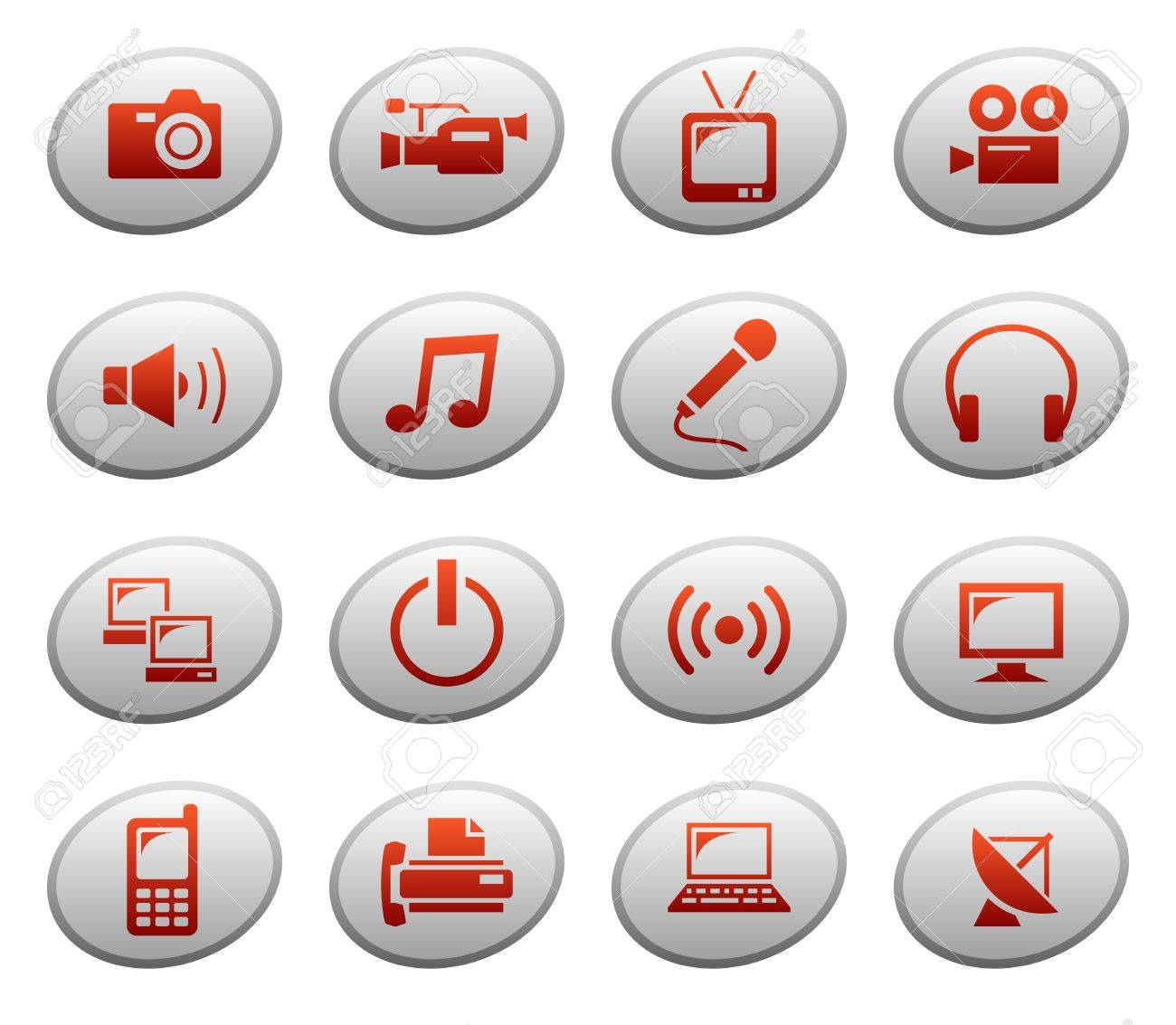 Multimedia icons on ellipse buttons Stock Vector - 11661475