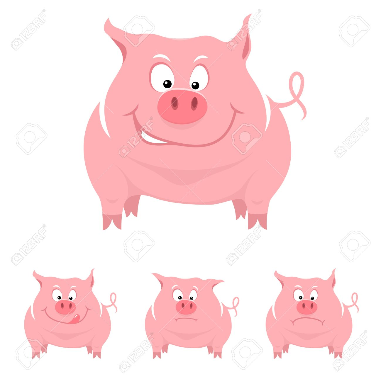 Funny cartoon pig with various emotions Stock Vector - 14382517