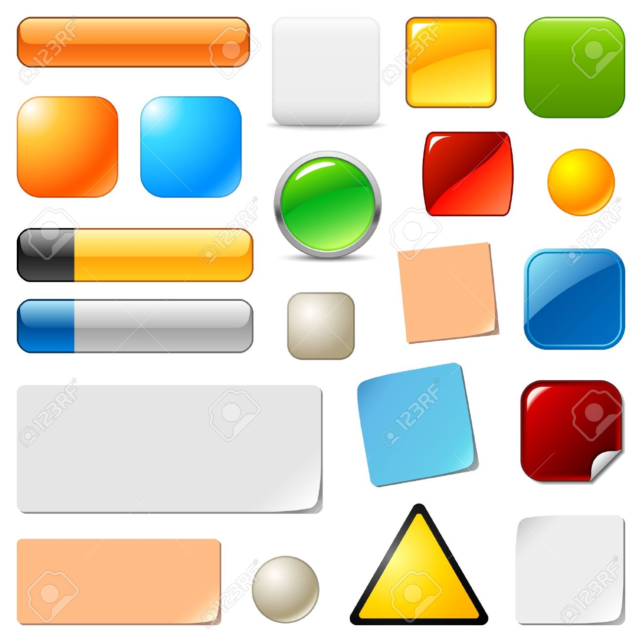blank web buttons and stickers templates set royalty free cliparts